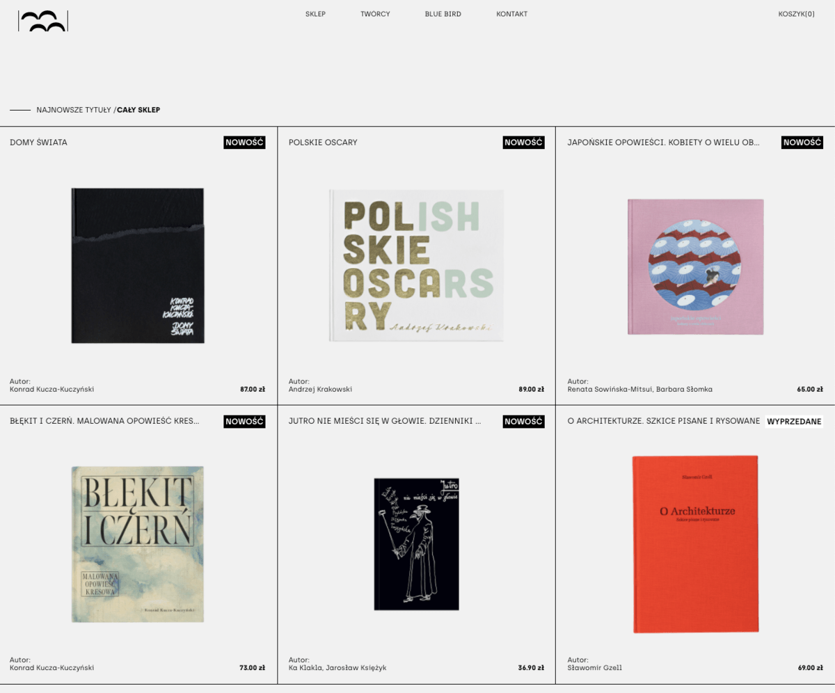 Simple geometric grids at a Polish publishing house website