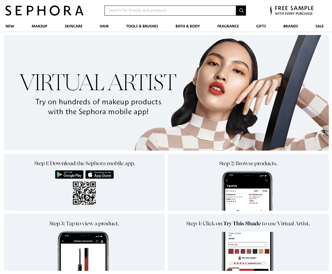 Sephora's Virtual Artist is a mobile app that allows the users to try on hundreds of makeup products before purchasing